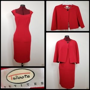 talbots woman dress with bolero red size 14